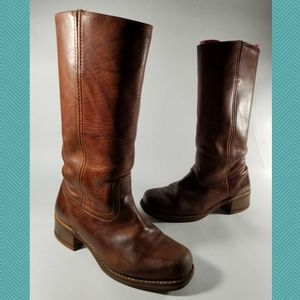 Frye Brown Leather Campus 14L Mid Calf Boots